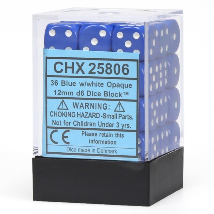 12mm d6 Opaque - Blue / White (36ct / block)