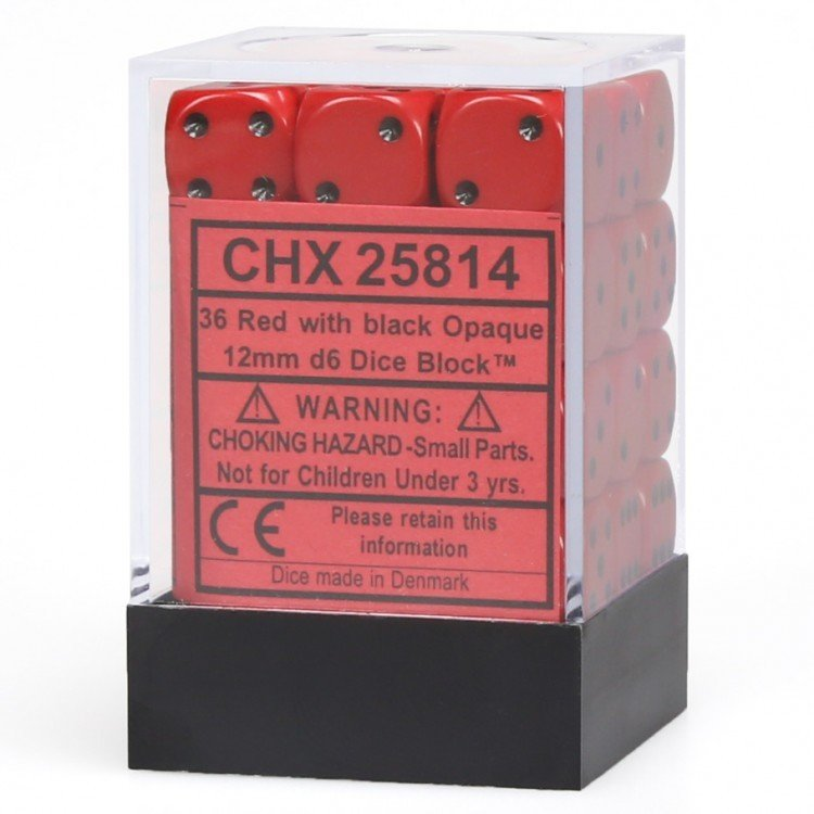12mm d6 Opaque - Red / Black (36ct / block)