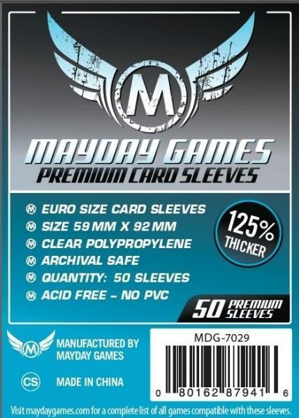 Euro Card Sleeves, Blue Label Premium Clear (50/pack) 59 X 92 MM