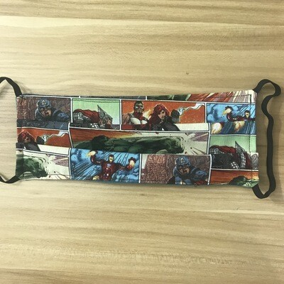 Marvel comic fabric pleated mask - elastic bands