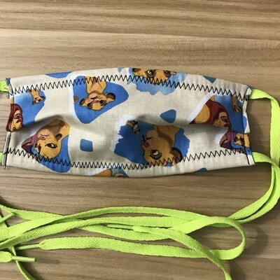 Lion King fabric pleated mask small sized/youth - shoe lace ties