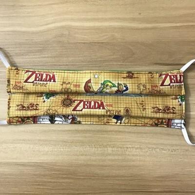 Zelda compass map fabric pleated mask - elastic bands