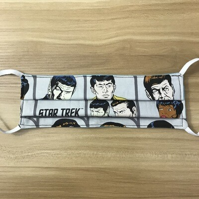 Star Trek characters fabric pleated mask - elastic bands