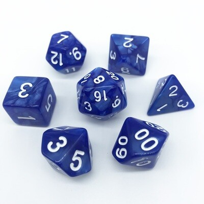 Dice Set - Blue marbled with white numbers