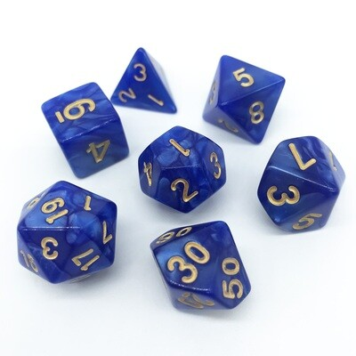 Dice Set - Blue marbled with gold numbers
