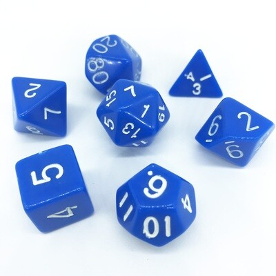 Dice Set - Blue solid with white numbers