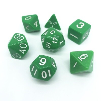 Dice Set - Green solid with white numbers