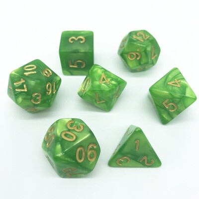 Dice Set - Green marbled with gold numbers