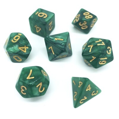 Dice Set - Dark Green marbled with gold numbers