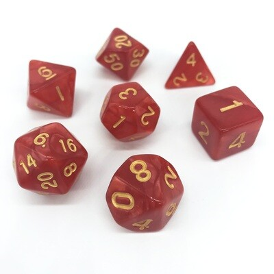 Dice Set - Red marbled with gold numbers