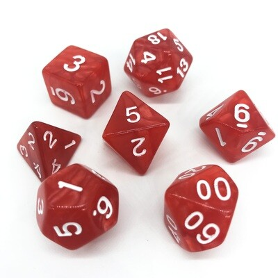 Dice Set - Red marbled with white numbers
