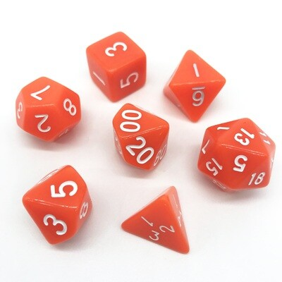 Dice Set - Orange solid with white numbers