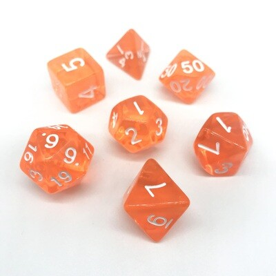 Dice Set - Orange transparent with white numbers