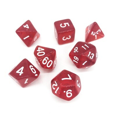 Dice Set - Red transparent with white numbers