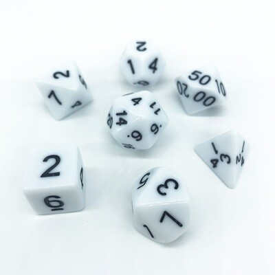 Dice Set - White solid with black numbers