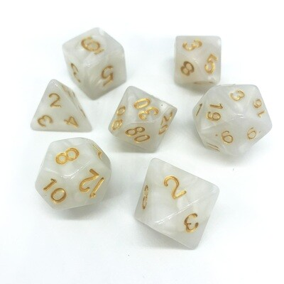 Dice Set - White marbled with gold numbers