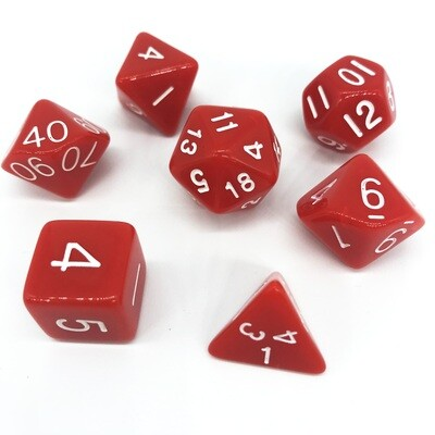 Dice Set - Red solid with white numbers