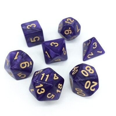 Dice Set - Purple marbled with gold numbers