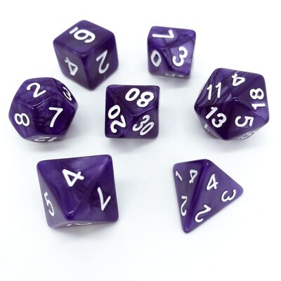 Dice Set - Purple marbled with white numbers