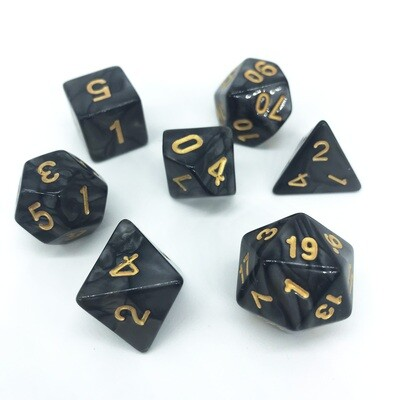 Dice Set - Black marbled with gold numbers