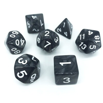 Dice Set - Black marbled with white numbers