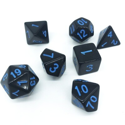 Dice Set - Black solid with blue numbers