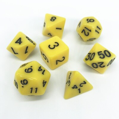 Dice Set - Yellow solid with black numbers