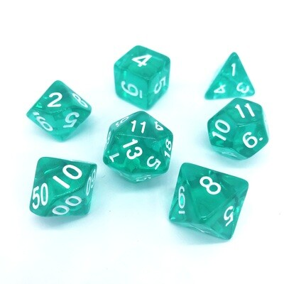 Dice Set - Teal transparent with white numbers