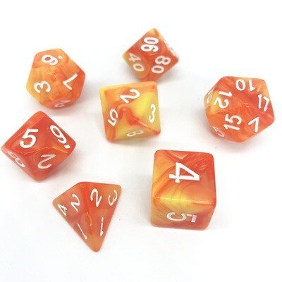 Dice Set - Orange and yellow marbled with white numbers
