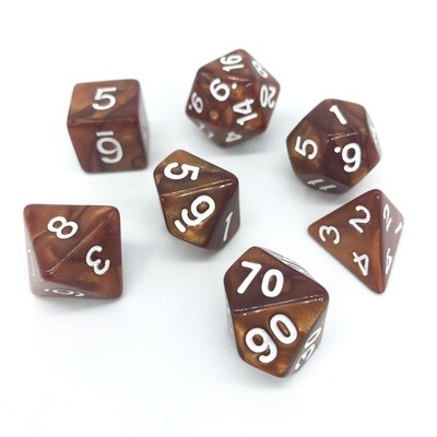 Dice Set - Brown marbled with white numbers