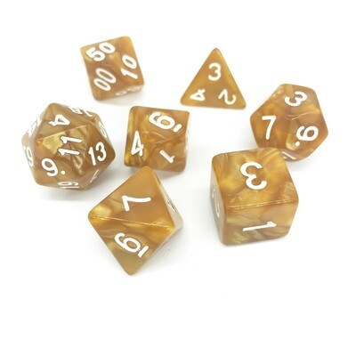 Dice Set - Light Brown marbled with white numbers