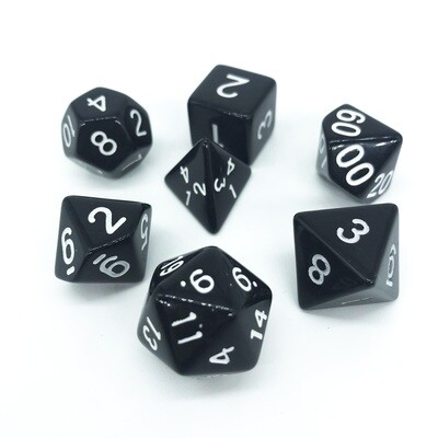 Dice Set - Black solid with white numbers