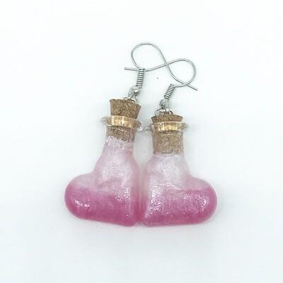 Potion Earrings - Dual tone pink, heart bottle