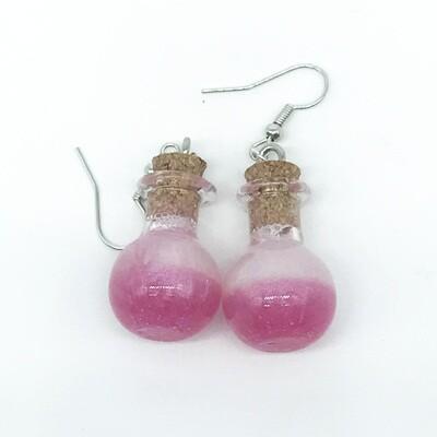 Potion Earrings - Dual tone pink, sphere bottle