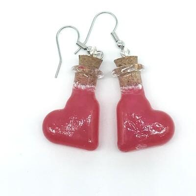 Potion Earrings - red, heart bottle
