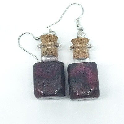 Potion Earrings - Dual tone black and red, square bottle