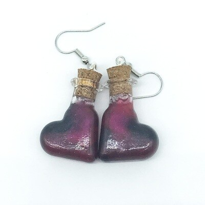 Potion Earrings - Dual tone black and red, heart bottle
