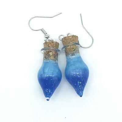 Potion Earrings - Dual tone blue, drop bottle