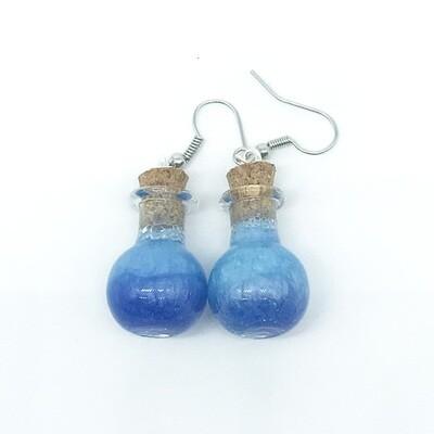 Potion Earrings - Dual tone blue, sphere bottle