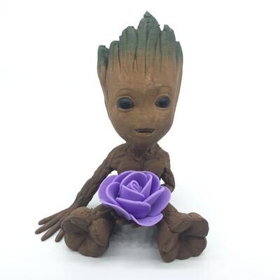 Cute & Happy Tree planter holding purple flower