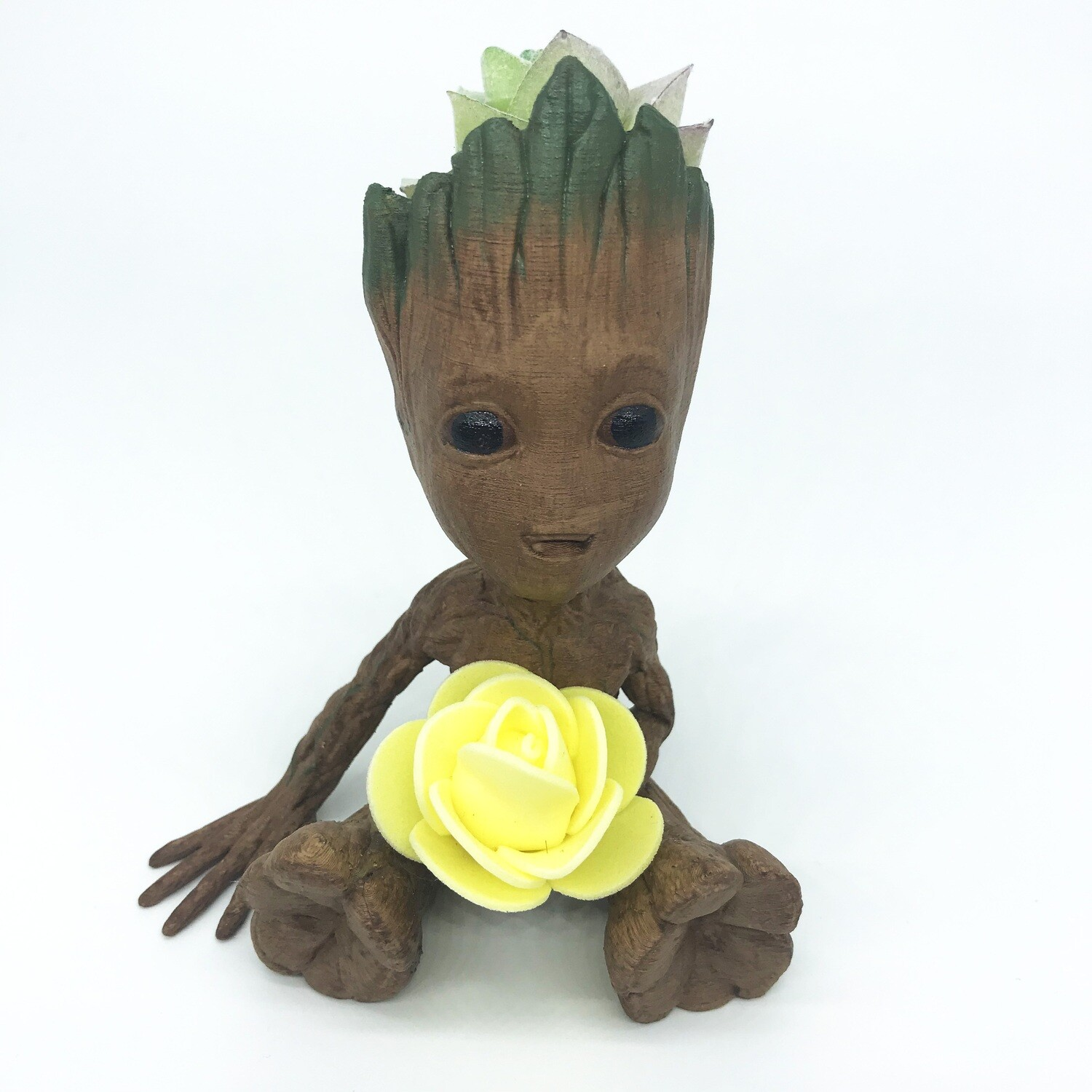 Cute & Happy Tree planter holding yellow flower & fake succulent
