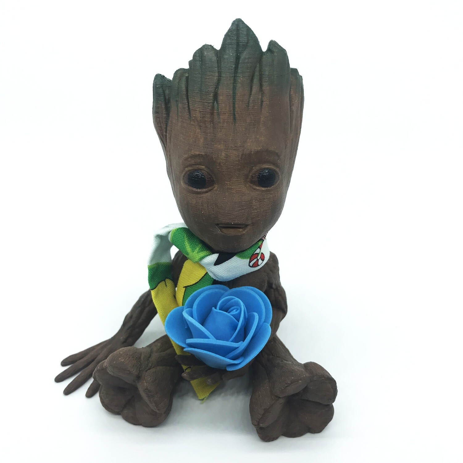 Cute & Happy Tree planter holding blue flower with scarf