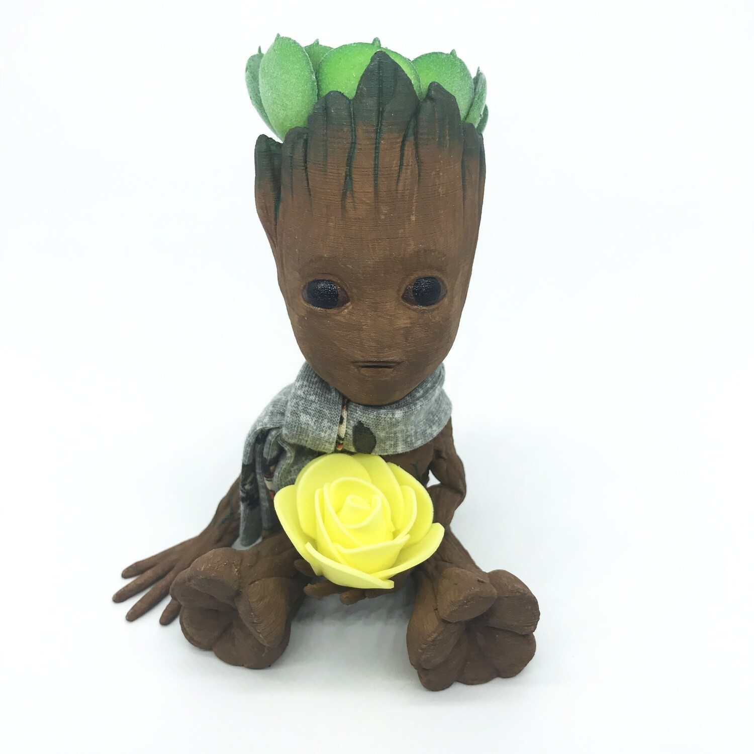 Cute & Happy Tree planter holding yellow flower with scarf & fake succulent