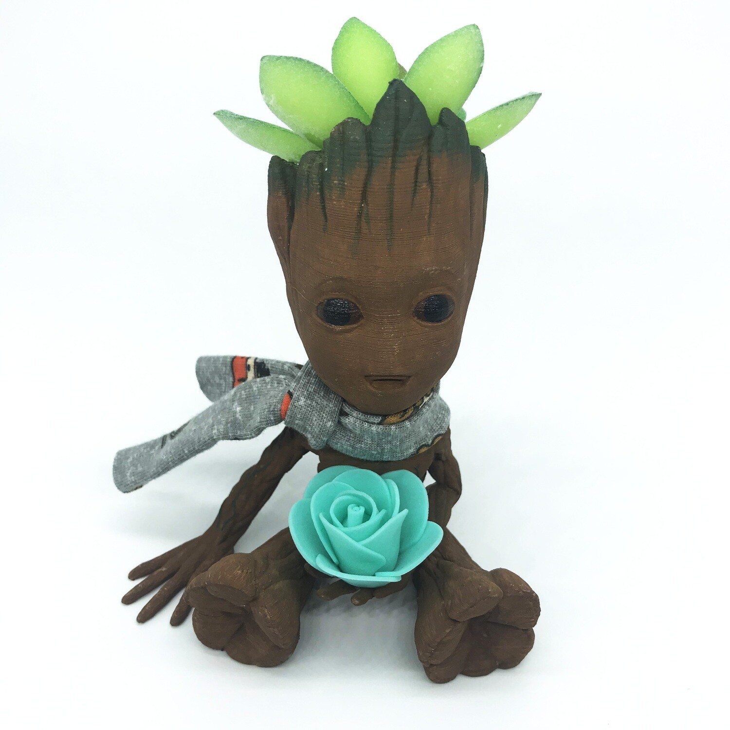 Cute & Happy Tree planter holding teal flower with scarf & fake succulent
