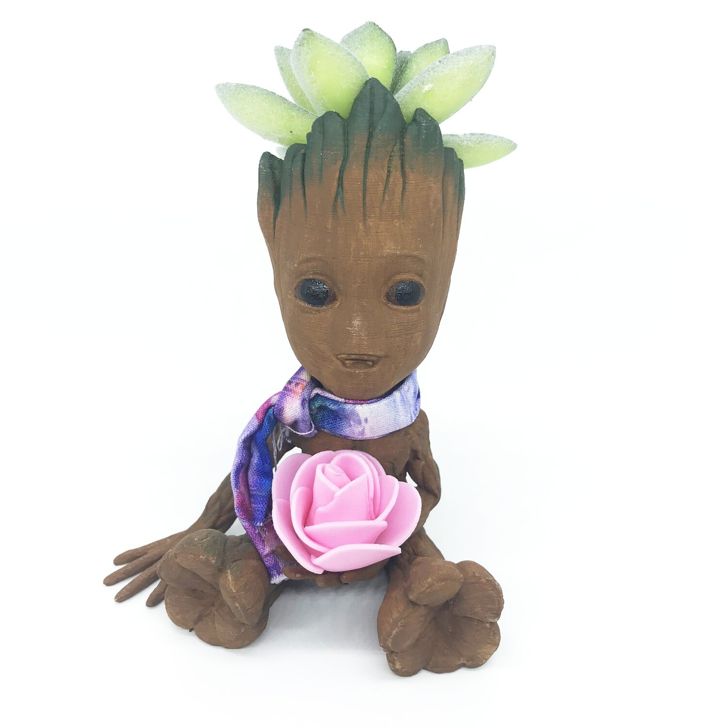 Cute & Happy Tree planter holding pink flower with scarf & fake succulent