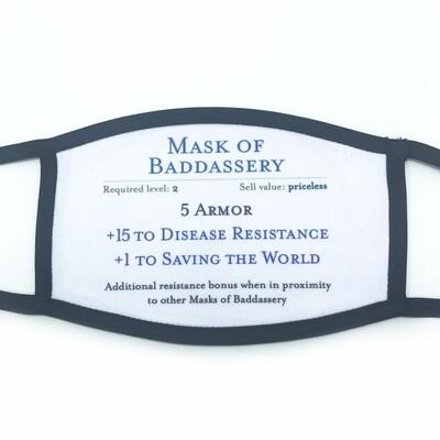 Mask of Baddassery fabric mask - small/medium