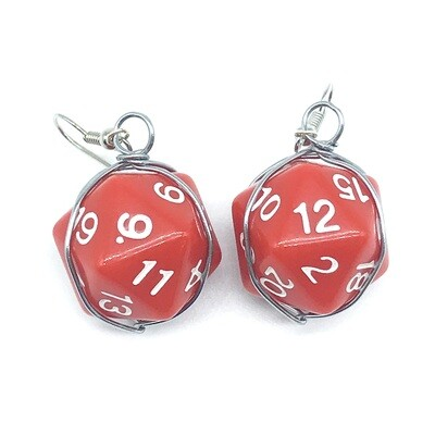 Dice Earrings - Opaque red with white numbers
