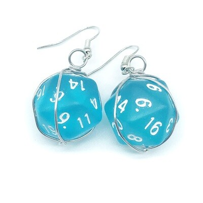 Dice Earrings - Semi-opaque teal with white numbers