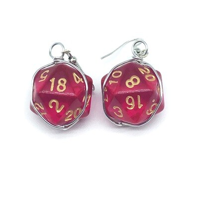 Dice Earrings - Transparent magenta with gold numbers