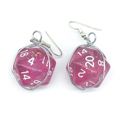 Dice Earrings - Transparent pink with glitter  and white numbers